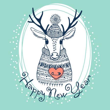手描きベクトル イラストかわいい鹿。幸せな新年のカード。  イラスト・ベクター素材