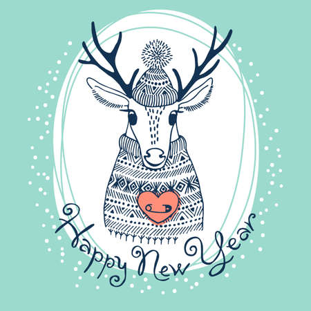 Hand drawn vector illustration with cute deer. Happy New Year card.