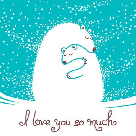 Greeting card with mother bear hugging her baby. Vector illustration.