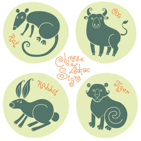 Set signs of the Chinese zodiac Rat, Ox, Rabbit, Tiger. Vector illustration. Vector