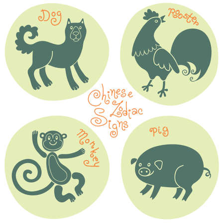 eastern zodiac: Set signs of the Chinese zodiac Monkey, Dog, Rooster, Pig. Vector illustration.