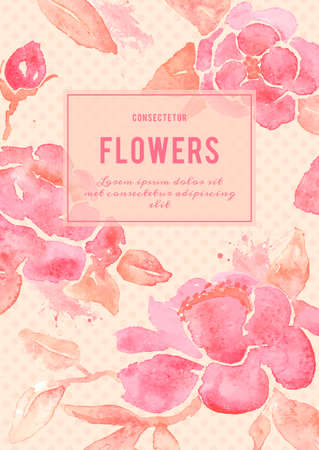 Background with Peony flowers. Watercolor painting in vector. Vectores