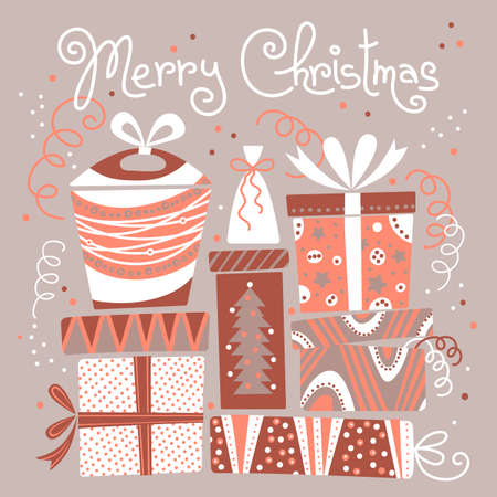 Christmas card with gift boxes. Vector illustration. Vector