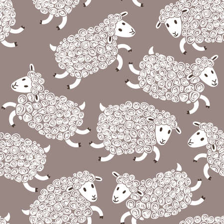 baby lamb: Seamless pattern with cute sheep. Vector illustration. Illustration
