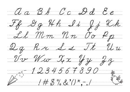 uppercase: Hand drawn uppercase calligraphic alphabet and number.