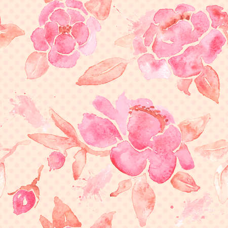 retro background: Seamless wallpaper with Peony flowers.