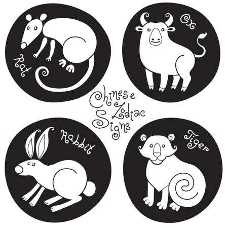rata caricatura: Establecer signos del zodiaco chino de la rata, buey, conejo, tigre. Ilustración del vector. Vectores