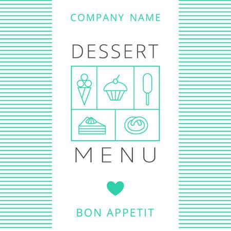 candy background: Dessert Menu Card Design template. Vector illustration.