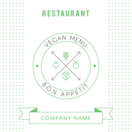 simple logo: Restaurant Vegetarian Menu card design template. Vector illustration.