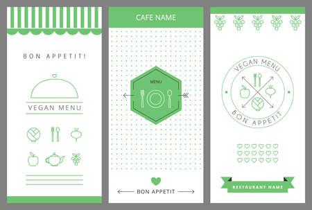 saludable logo: Restaurante Menú vegetariano plantilla de diseño de la tarjeta. Ilustración del vector.