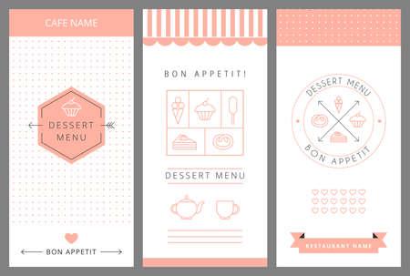 デザート メニュー カード デザイン テンプレートです。ベクトルの図。  イラスト・ベクター素材