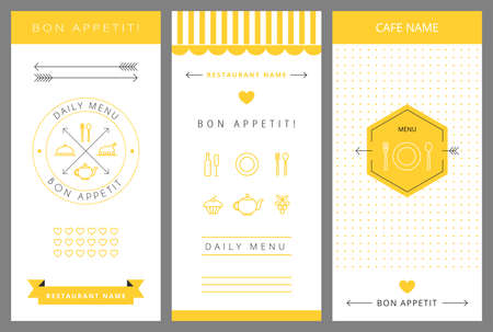 bars: Daily menu design template. Vector isolated illustration.