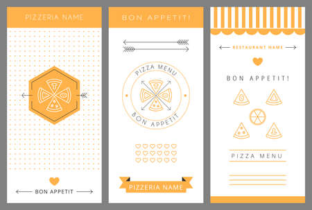 gourmet pizza: Design menu. Pizza menu. Vector isolated illustration.