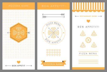 pasta: Men� del dise�o. Men� de pizza. Ilustraci�n vectorial aislado.