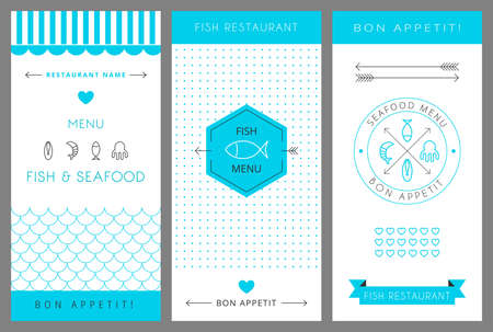 Restaurant menu design template. Fish and seafood menu. Vector illustration. 向量圖像