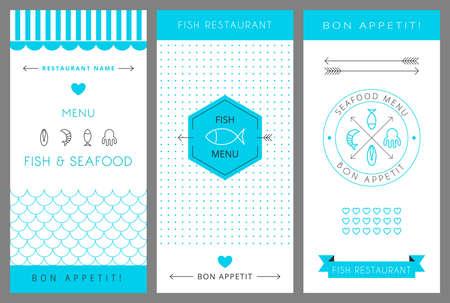 Restaurant menu design template. Fish and seafood menu. Vector illustration. Vettoriali