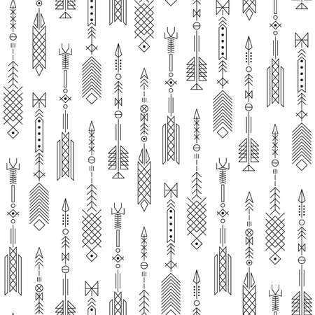 tribal art: Seamless abstract pattern with stylized arrows. Vector illustration.
