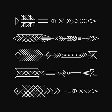 Hipster arrows. Abstract elements for tattoo and design. Vector illustration. Vector