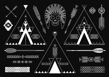 Collection of Native American tribal stylized elements for design. Vector illustration. Vector