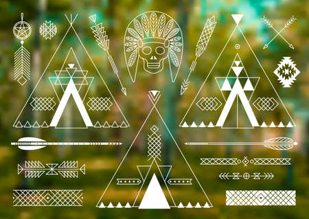 american indian aztec: Collection of Native American tribal stylized elements for design.