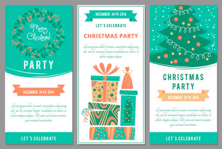 Christmas party invitations in cartoon style. Vettoriali