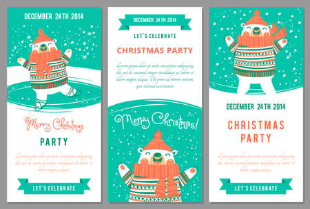 happy people white background: Christmas party invitations in cartoon style. Vector illustration.