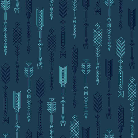 Seamless abstract pattern with stylized arrows. Vector illustration.