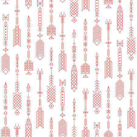 indian tattoo: Seamless abstract pattern with stylized arrows. Vector illustration.