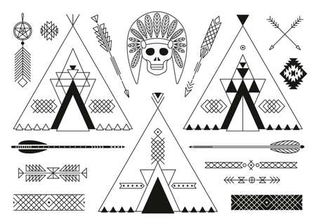 black american: Collection of Native American tribal stylized elements for design. Vector illustration.
