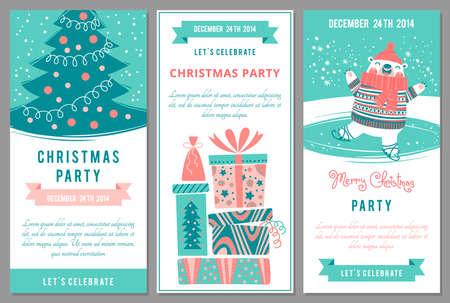 Invitaciones de la fiesta de Navidad en el estilo de dibujos animados. Ilustración del vector. Foto de archivo - 34294563