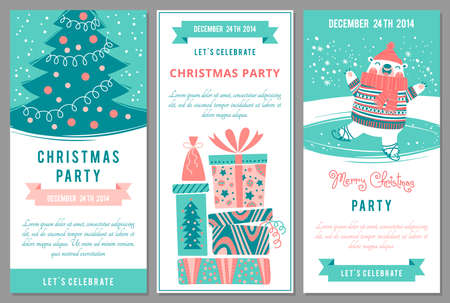 ni�os con pancarta: Invitaciones de la fiesta de Navidad en el estilo de dibujos animados. Ilustraci�n del vector. Vectores