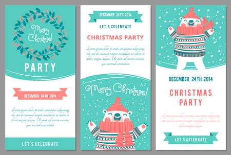 osos navideños: Invitaciones de la fiesta de Navidad en el estilo de dibujos animados. Ilustración del vector. Vectores
