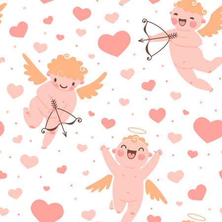 Valentines Day romantic seamless pattern with cute cupid and hearts. Vector illustration. Vector