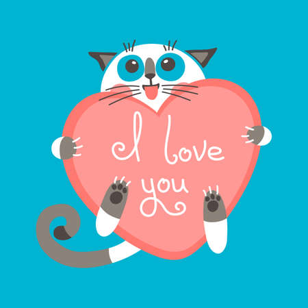Cute cartoon ginger cat with heart and declaration of love. Vector illustration.