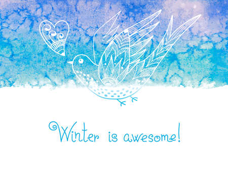 amazing wallpaper: Winter is awesome. Watercolor winter background with birds. Vector illustration.