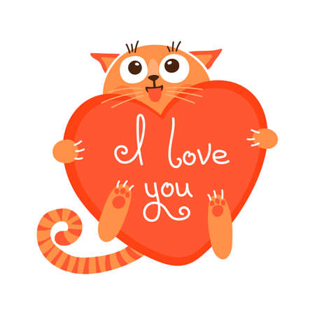 Cute cartoon ginger cat with heart and declaration of love illustration.