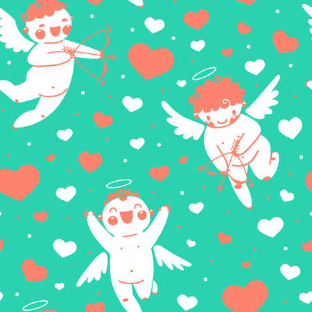 Valentines Day romantic seamless pattern with cute cupid and hearts illustration. Vector
