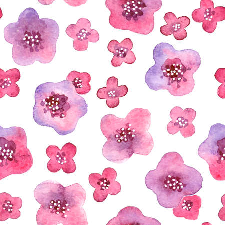 Seamless pattern with watercolor flowers. Vector illustration. Vector