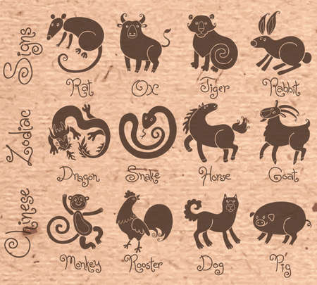 year of rat: Illustrations or icons of all twelve Chinese zodiac animals. Vector illustration.