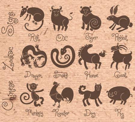 rata caricatura: Ilustraciones o iconos de los doce animales del zodiaco chino. Ilustraci�n del vector. Vectores