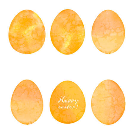 Set of watercolor eggs. Easter design elements. Vector illustration. Çizim