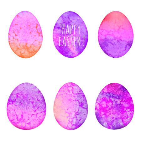 Set of watercolor eggs. Easter design elements. Vector illustration. Illustration