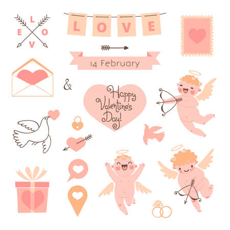 Valentines Day set of elements for design. Vector illustration. Vector