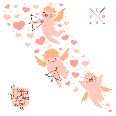 Valentines Day romantic background with cute angels. Vector illustration. Vector