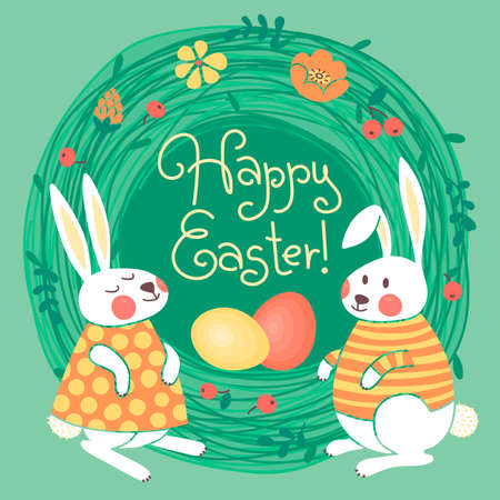 Happy Easter card with cute bunnies and colored eggs. Vector illustration. Vector