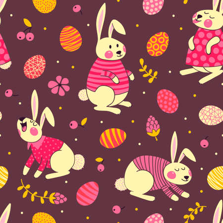 Happy Easter seamless pattern with cute bunnies and eggs. Vector illustration. Vector