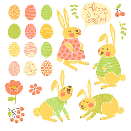 Set of elements for design Happy Easter. Vector illustration. Vector