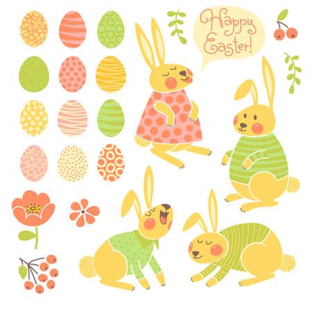 Set of elements for design Happy Easter. Vector illustration. Vector