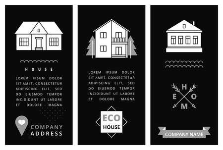 Modèles de cartes d'affaires avec des maisons. Vector illustration. Banque d'images - 35715827