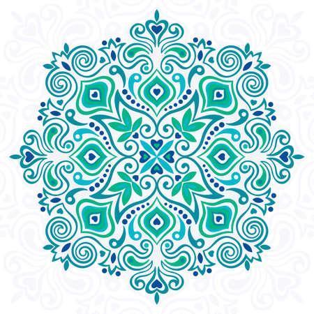 抽象的な花曼荼羅。デザインの装飾的な要素です。ベクトルの図。  イラスト・ベクター素材